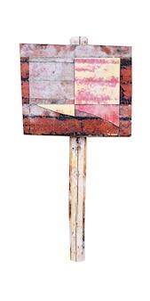 Vecchio palo sporco con uno scudo. antico striscione isolato su sfondo bianco