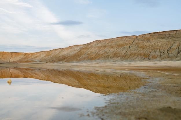 Terreno e acqua sporchi e inquinati su un territorio con una cattiva situazione ambientale che può essere utilizzato come illustrazione della catastrofe ecologica