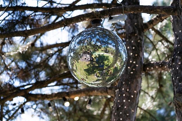 Palla da discoteca su un albero in una giornata di sole