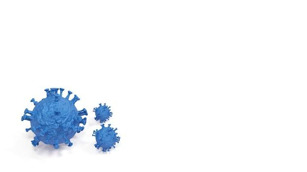 Cellula malata dell'epidemia di coronavirus covid-19 e cellula influenzale dei coronavirus, rendering 3d