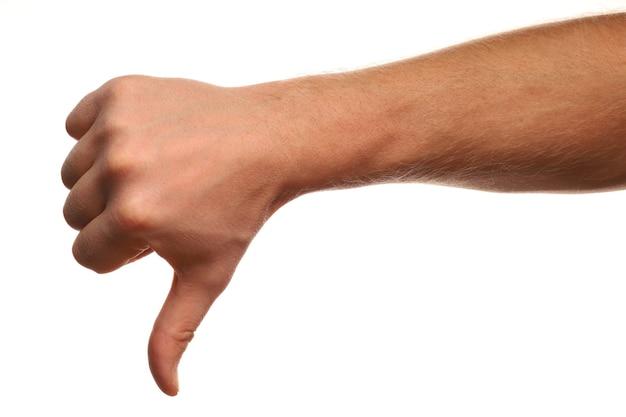 Antipatia segno di mano isolato su bianco