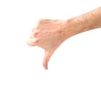 Non mi piace la mano con il pollice verso il basso isolato su sfondo bianco