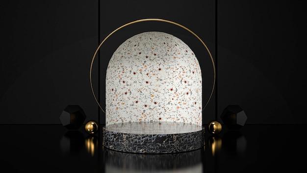 Esposizione sul prodotto della parete del podio di forma della geometria.
