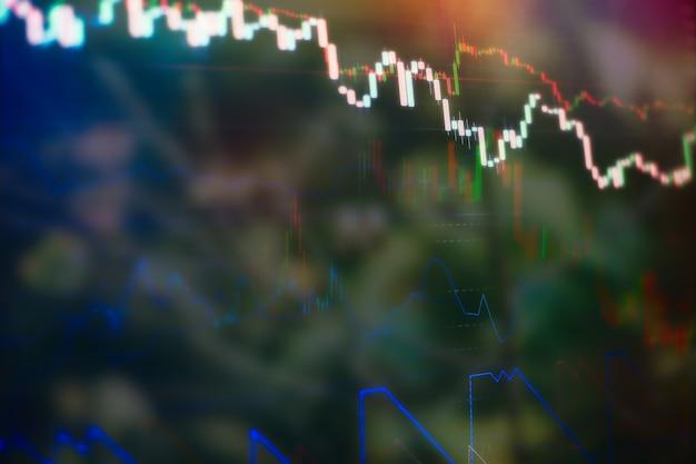 Visualizzazione delle quotazioni di borsa. grafico commerciale. tendenza ribassista rialzista. grafico a candele trend rialzista trend ribassista. sfondo del grafico commerciale: analisi della contabilità aziendale su fogli informativi.