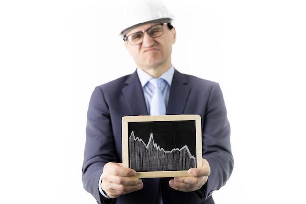 Segno dispiaciuto della tenuta dell'uomo d'affari con il grafico di caduta di goccia delle azione di citazioni dell'olio