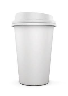 Tazza di caffè usa e getta isolata su bianco. rendering 3d.