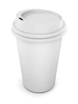 Bicchiere di plastica usa e getta con coperchio per caffè isolato su bianco. rendering 3d.