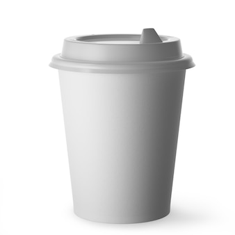 Tazza da caffè monouso per bevande calde in carta bianca con coperchio nero su sfondo bianco. rendering 3d.