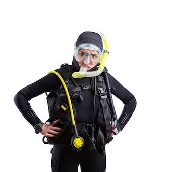 Operatore subacqueo in muta e attrezzatura subacquea isolati su priorità bassa bianca. frogman in maschera e scuba, sport subacqueo