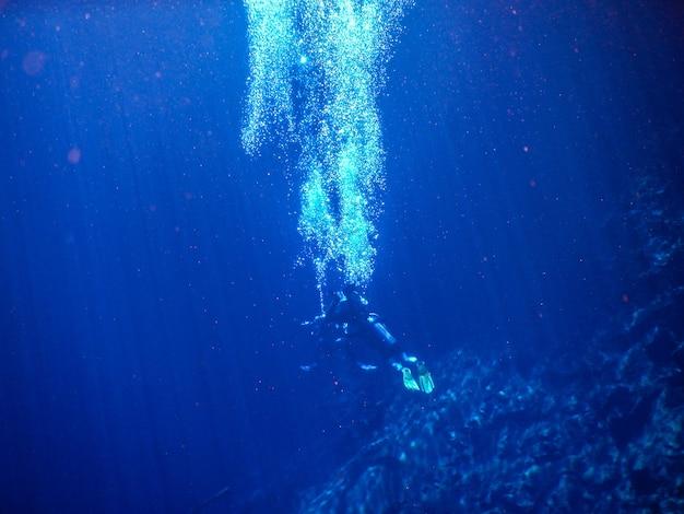Subacquei nella laguna dell'acqua blu