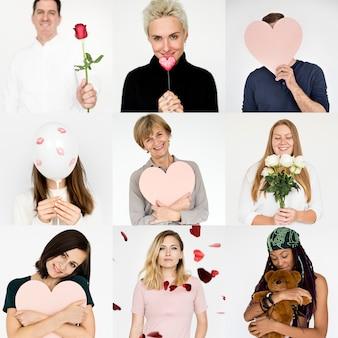 Diverse persone con collezione di collage di icone di amore