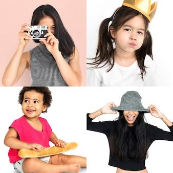 Collage isolato studio allegro di felicità delle diverse donne