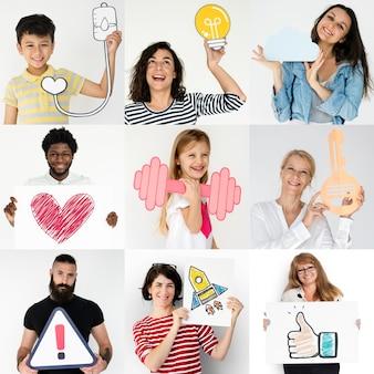 La gente di diversità ha messo con il collage dello studio delle icone di arte del mestiere di carta