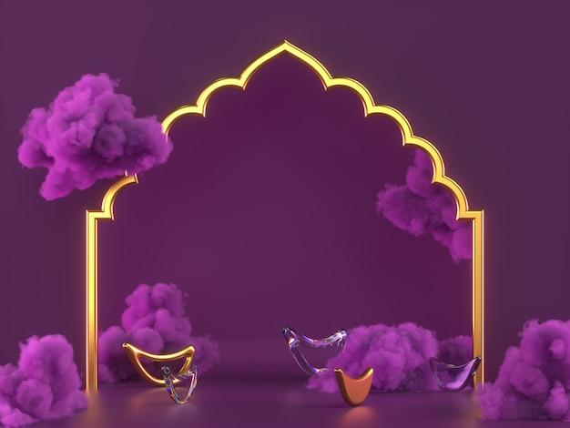 Diwali, scena del podio del festival delle luci con rangoli indiano 3d, lampada a olio diya decorativa lucida e dorata, nuvole viola. illustrazione della rappresentazione 3d.