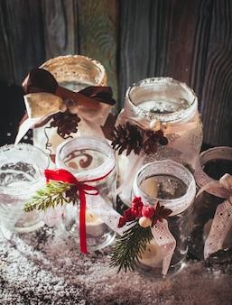Candelieri in vetro fai da te decorazioni natalizie con pizzo e nastri