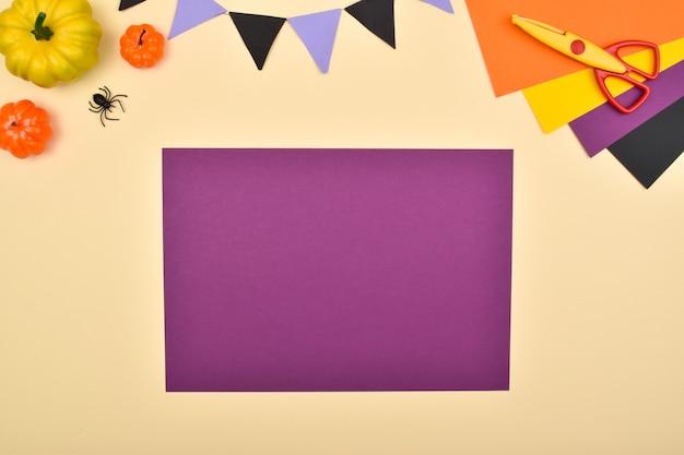 Halloween fai da te. facciamo una strega con la carta colorata. istruzioni passo passo. passaggio 1: abbiamo preparato la carta colorata.