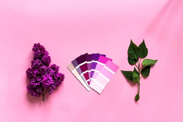 Concetto di design minimalista fai da te. campioni di colore alla moda: fiori rosa, viola, magenta e lilla su sfondo rosa. vista dall'alto,