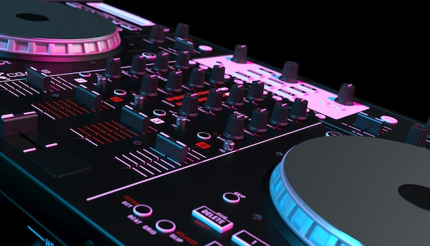 Mixer dj su sfondo nero close up, 3d'illustrazione