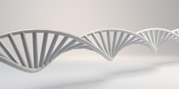 Catena di dna su sfondo bianco. sequenza astratta della molecola. sfondo. bandiera. illustrazione 3d.