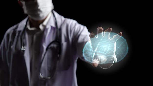 Mano di medico con grafica della struttura del cervello umano trasparente. rendering 3d