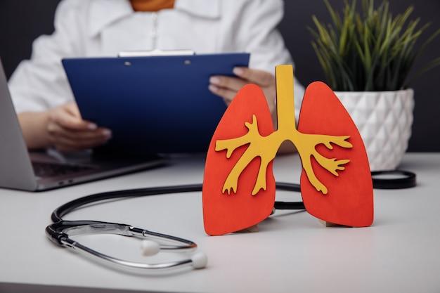 Il dottore nel suo studio e il modello di un polmone umano.
