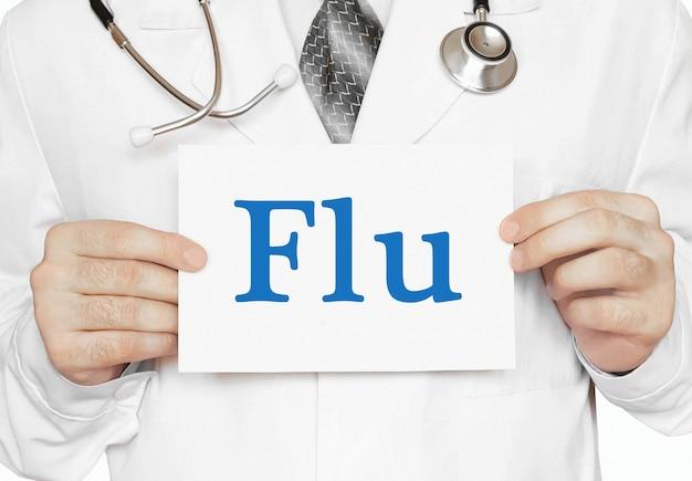 Medico in possesso di una carta con influenza, concetto medico