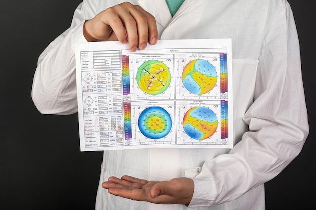 L'oculista medico mostra gli occhi di topografia corneale con cheratocono su un primo piano scuro della parete.