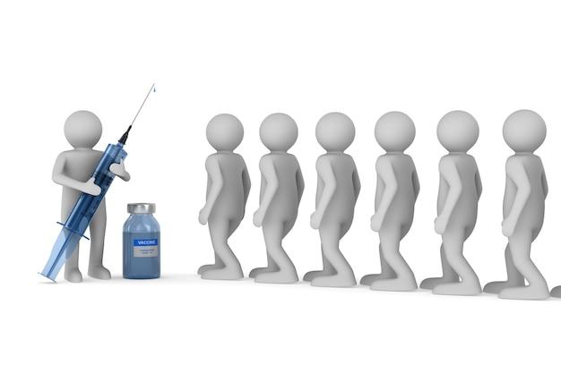 Medico con siringa medica e pazienti su sfondo bianco. illustrazione 3d isolata