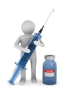 Medico con siringa medica su sfondo bianco. illustrazione 3d isolata
