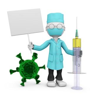 Medico con un cartello, una siringa e batteri coronavirus