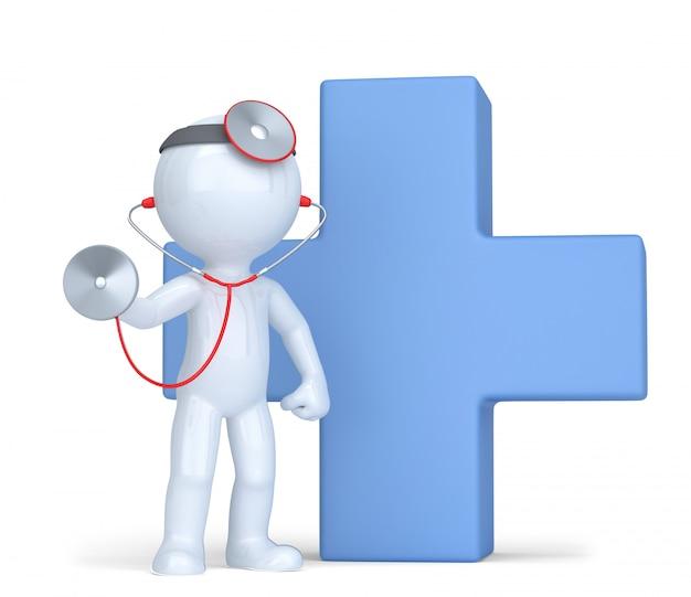 Medico con stetoscopio. isolato. contiene il tracciato di ritaglio