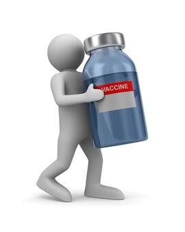 Medico con vaccino su sfondo bianco. illustrazione 3d isolata