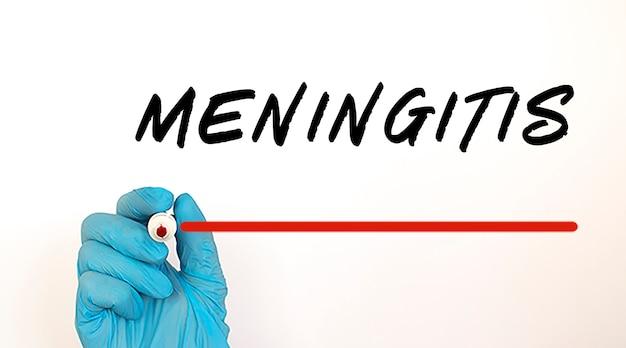Testo di scrittura del medico meningite con pennarello rosso. concetto medico.