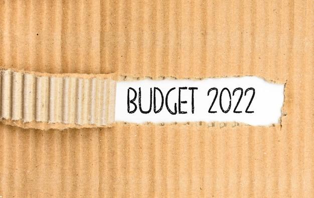 Una cartella di documenti con il bilancio per il 2022 scritto sulla copertina strappata.
