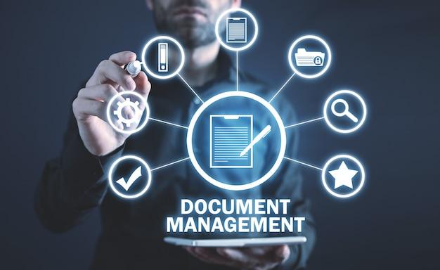 Concetto di gestione dei documenti. attività commerciale. internet. tecnologia