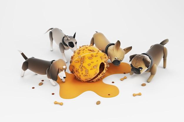 Illustrazione 3d di attività del cane