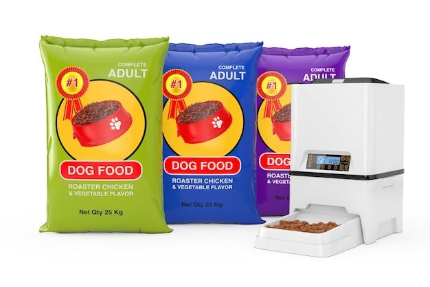 Pacchetti di sacchetti di cibo per cani design vicino a dispenser di alimentatore per pasti per alimenti secchi per animali domestici elettronico automatico digitale su sfondo bianco. rendering 3d