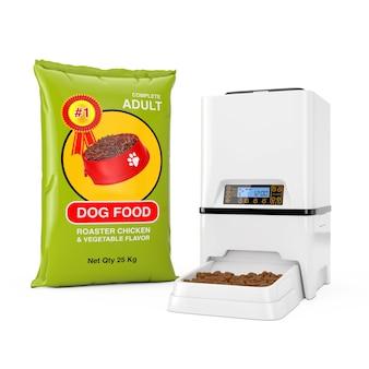 Pacchetti di sacchetti di cibo per cani dispenser di alimentatore per pasti per alimenti per animali domestici automatico digitale elettronico automatico designnear su sfondo bianco. rendering 3d