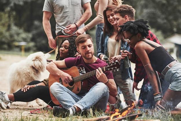 Anche il cane vuole fare festa. un gruppo di persone fa un picnic sulla spiaggia. gli amici si divertono durante il fine settimana.