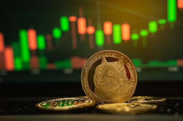 Doge moneta d'oro e sfondo grafico sfocato, concetto di criptovaluta