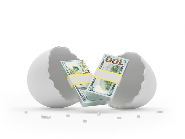 Banconote da un dollaro in guscio d'uovo rotto