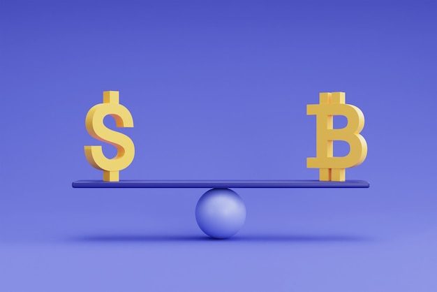 Simboli di valuta dollaro e bitcoin su una bilancia