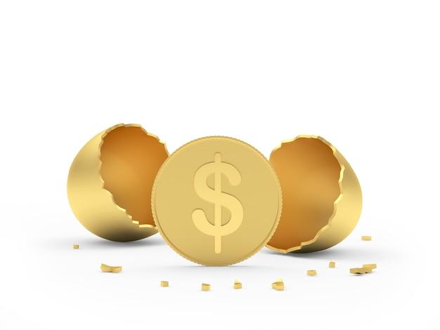 Moneta da un dollaro accanto al guscio d'uovo rotto dorato