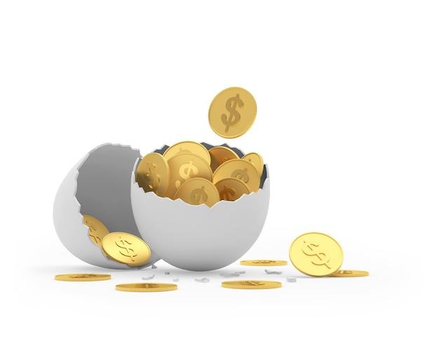 Monete del dollaro in guscio d'uovo rotto
