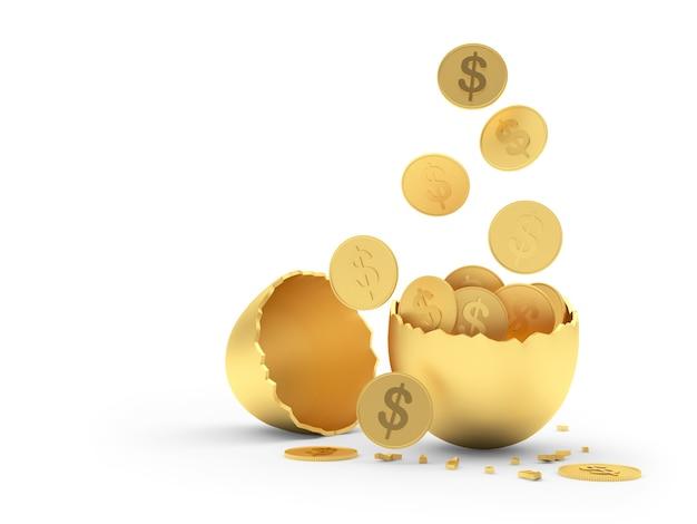 Le monete del dollaro cadono nelle metà dorate dei gusci d'uovo