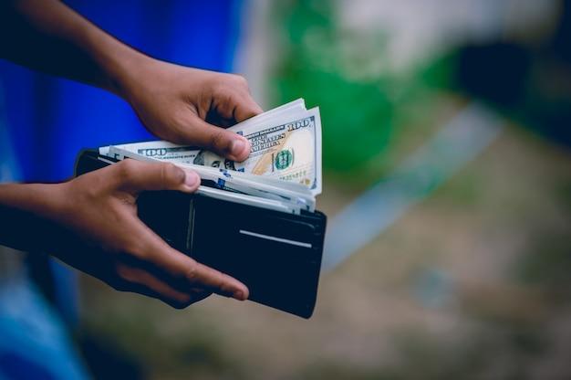 Mano e borsa del dollaro