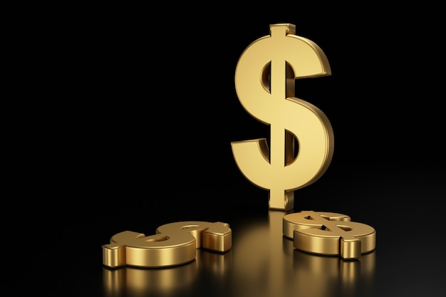 Segno di dollaro nero. redering 3d.