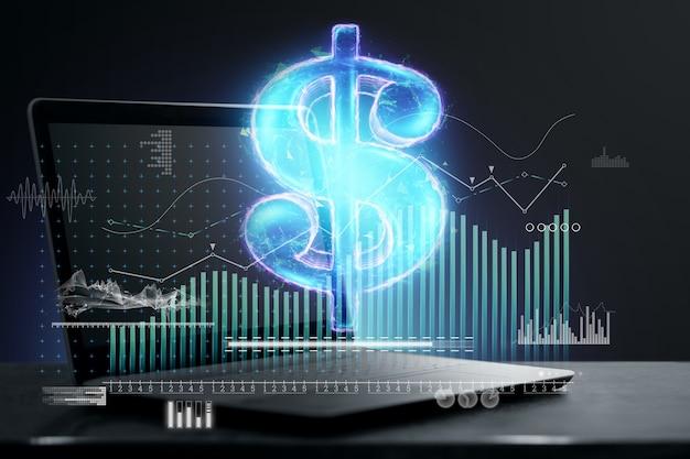 Ologramma del simbolo del dollaro con informazioni analitiche, laptop. concetto di valuta, moneta elettronica, mercato internet, ipo. esposizione doppia.