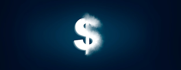 Segno del dollaro nella schermata su backgrund blu