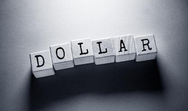 Dollaro parola scritta su cubi di legno